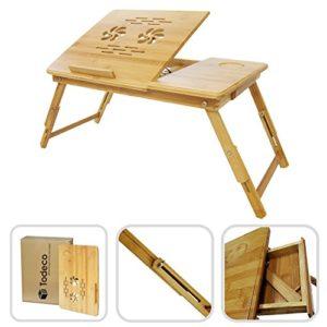 Laptoptisch klappbar | Bambus | Mit kleiner Schublade | höhenverstellbar